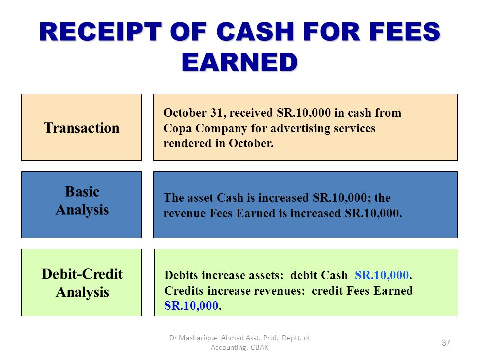 RECEIPT OF CASH FOR FEES EARNED