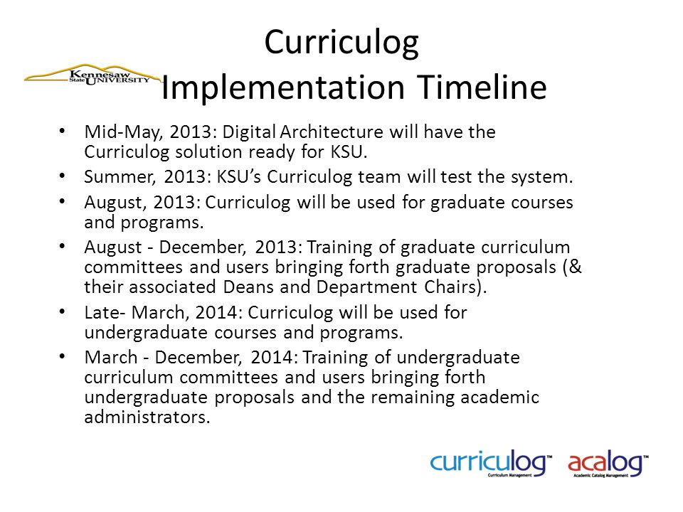Curriculog Implementation Timeline