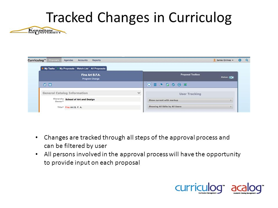 Tracked Changes in Curriculog