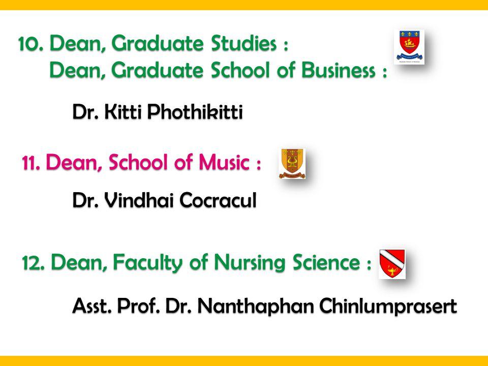 10. Dean, Graduate Studies : Dean, Graduate School of Business :
