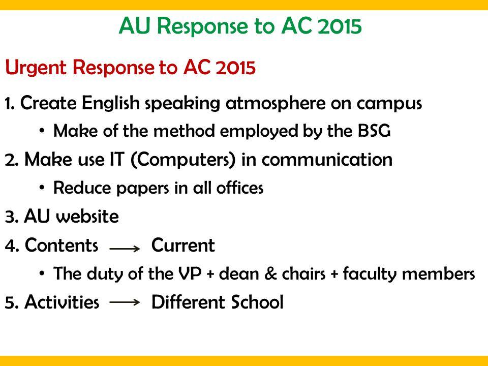 AU Response to AC 2015 Urgent Response to AC 2015