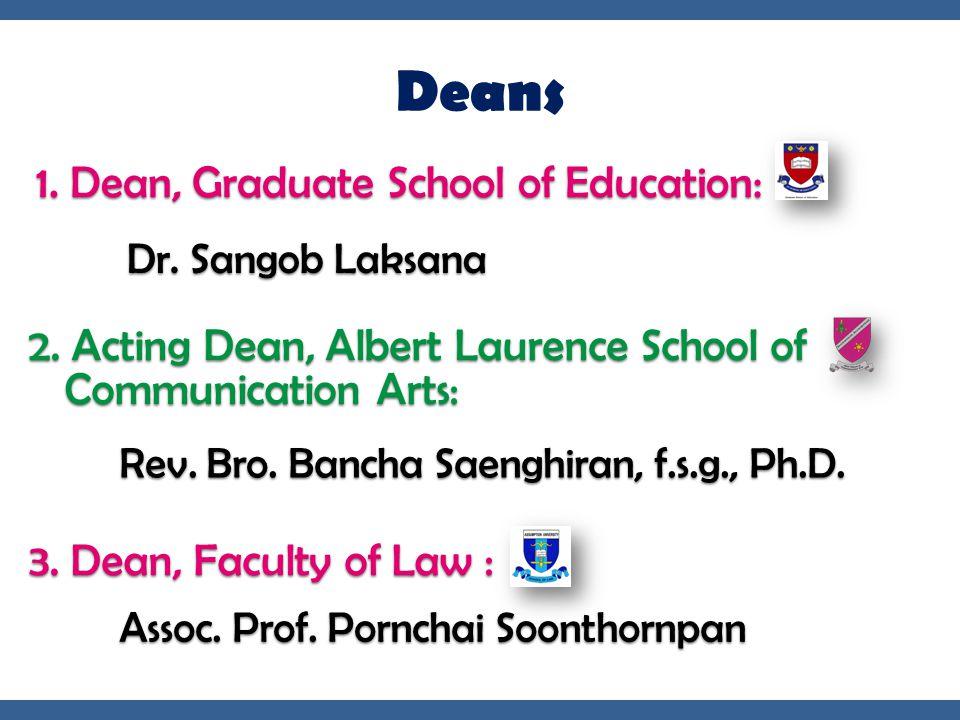 Deans 1. Dean, Graduate School of Education:
