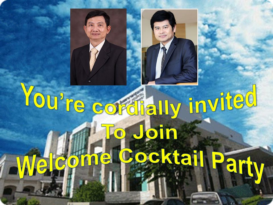 You're cordially invited Welcome Cocktail Party
