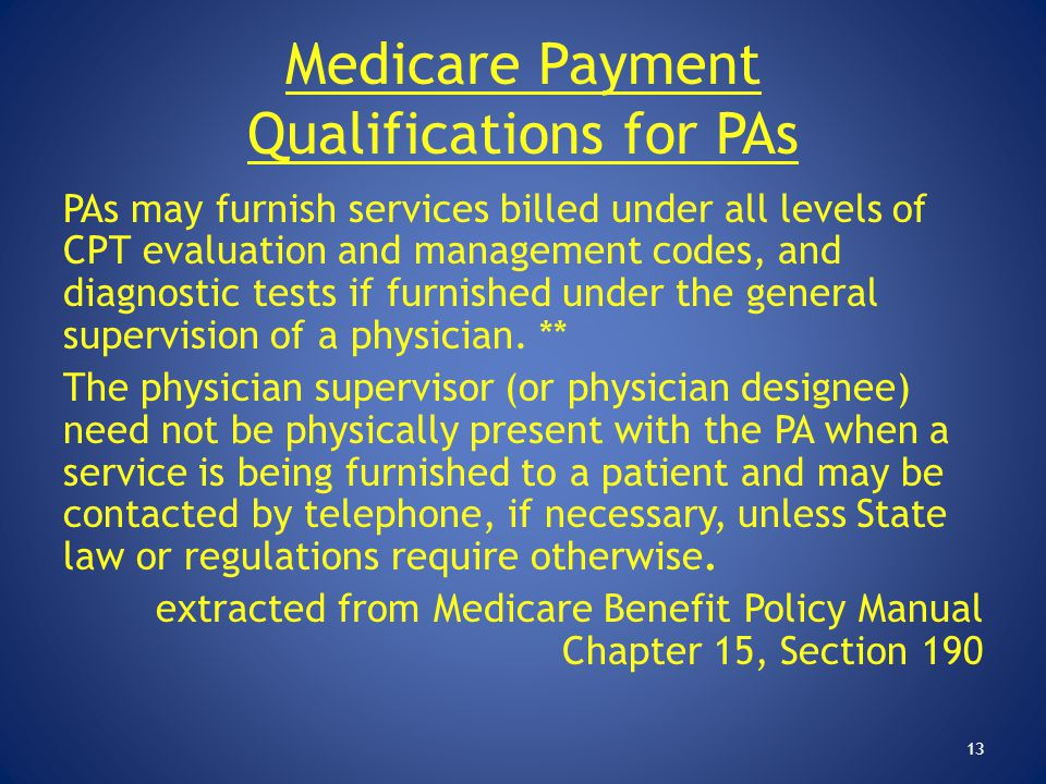 Medicare Payment Qualifications for PAs