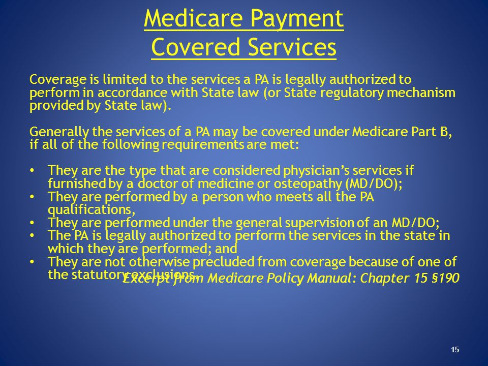 Medicare Payment Covered Services
