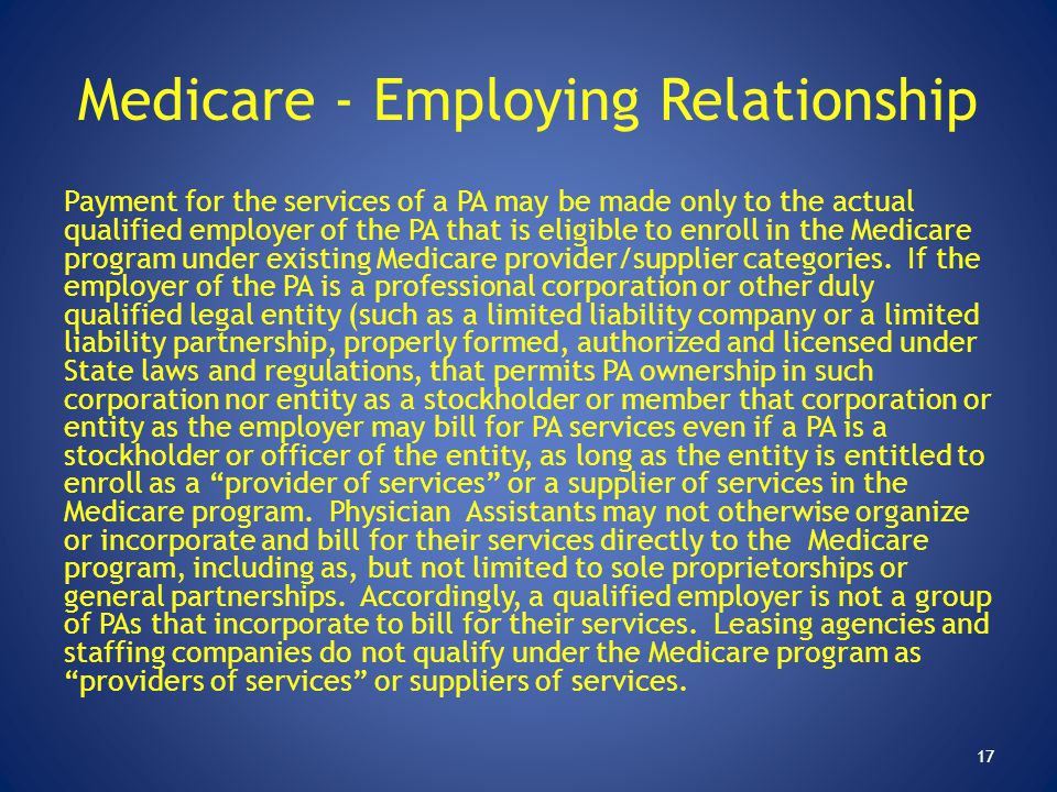 Medicare - Employing Relationship