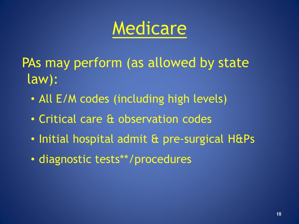Medicare PAs may perform (as allowed by state law):