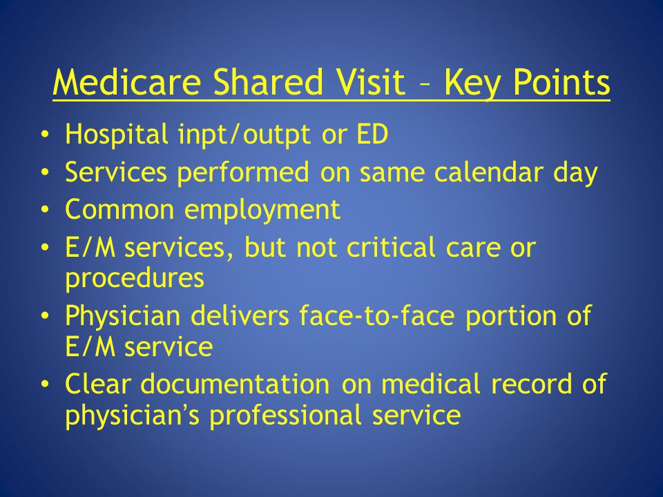 Medicare Shared Visit – Key Points