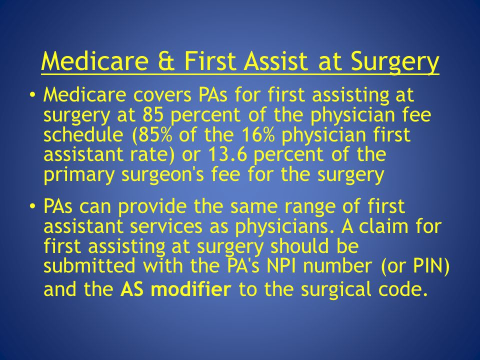 Medicare & First Assist at Surgery