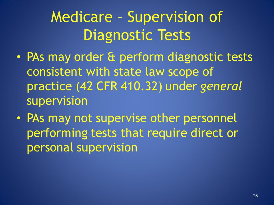 Medicare – Supervision of Diagnostic Tests