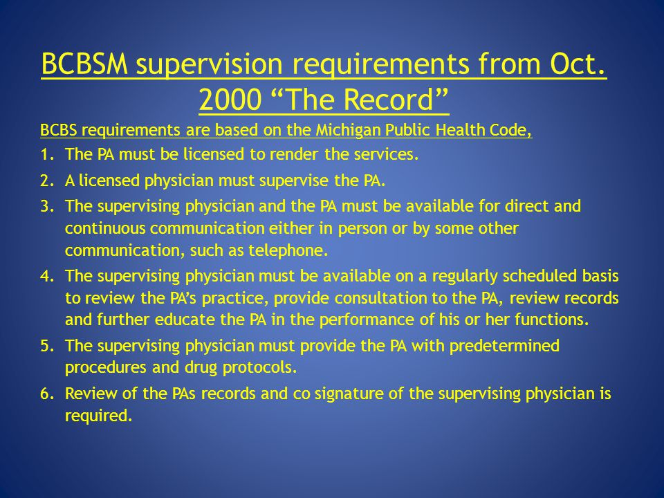 BCBSM supervision requirements from Oct. 2000 The Record