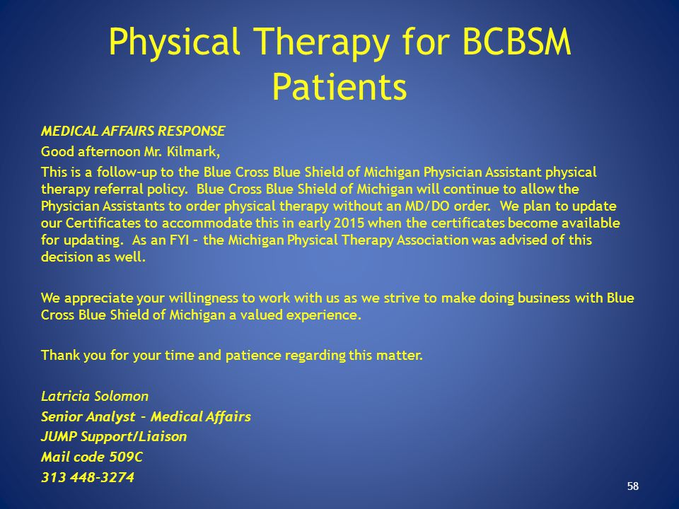 Physical Therapy for BCBSM Patients