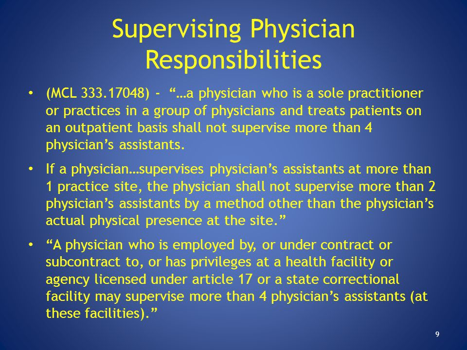 Supervising Physician Responsibilities
