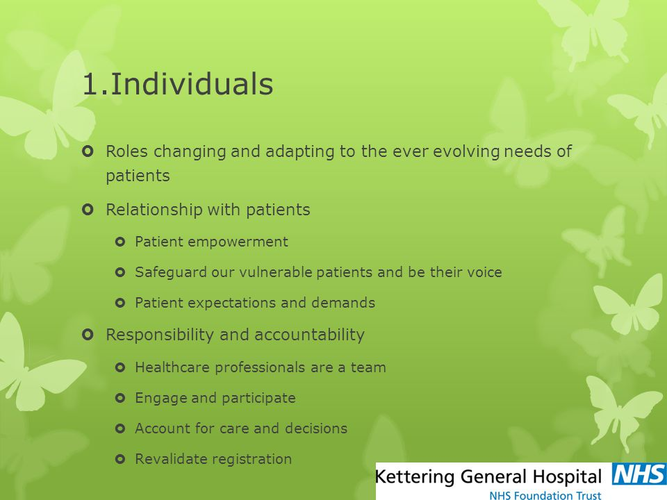 1.Individuals Roles changing and adapting to the ever evolving needs of patients. Relationship with patients.