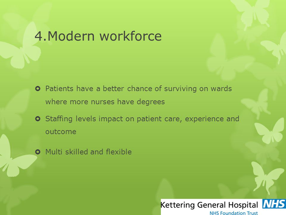4.Modern workforce Patients have a better chance of surviving on wards where more nurses have degrees.