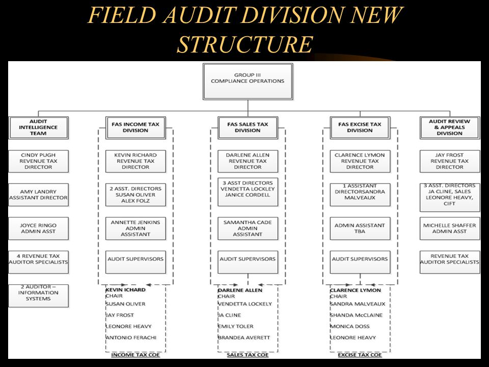 FIELD AUDIT DIVISION NEW STRUCTURE