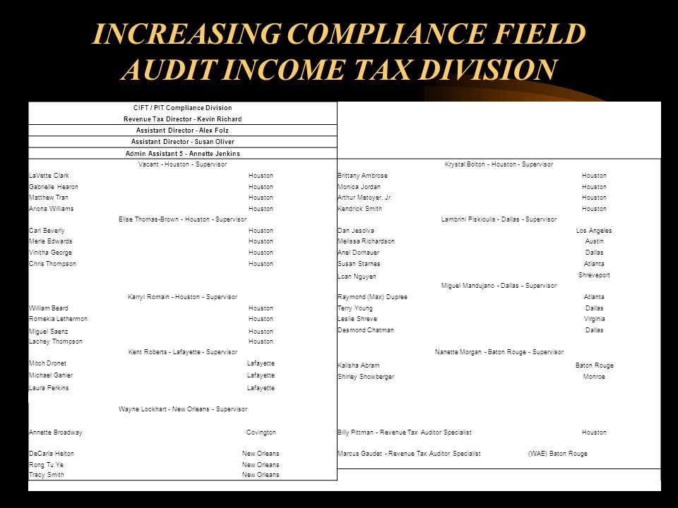 INCREASING COMPLIANCE FIELD AUDIT INCOME TAX DIVISION