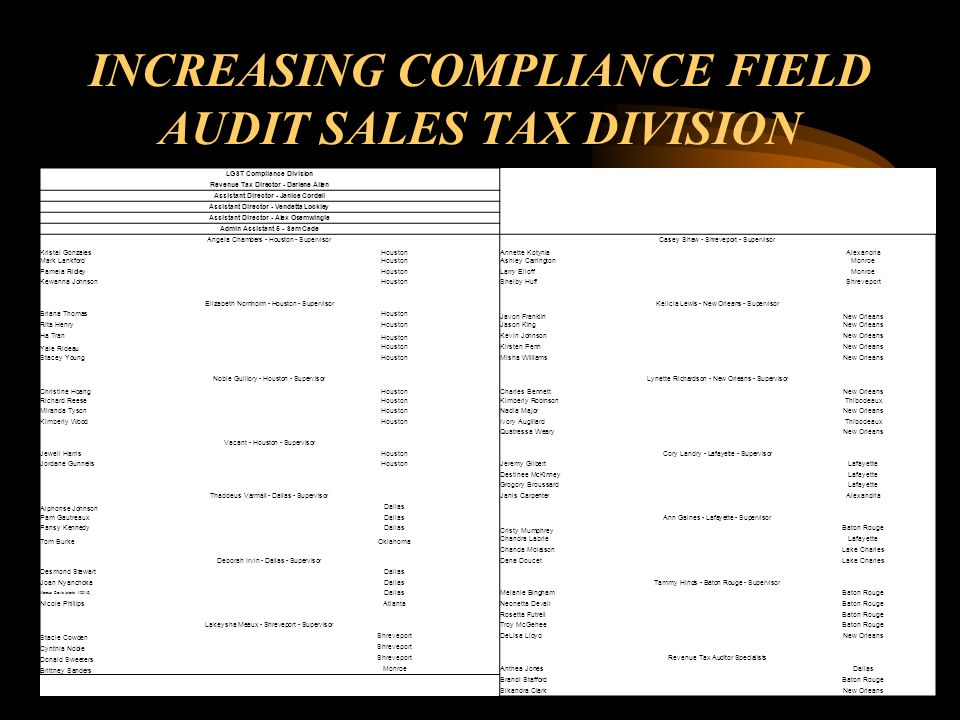 INCREASING COMPLIANCE FIELD AUDIT SALES TAX DIVISION