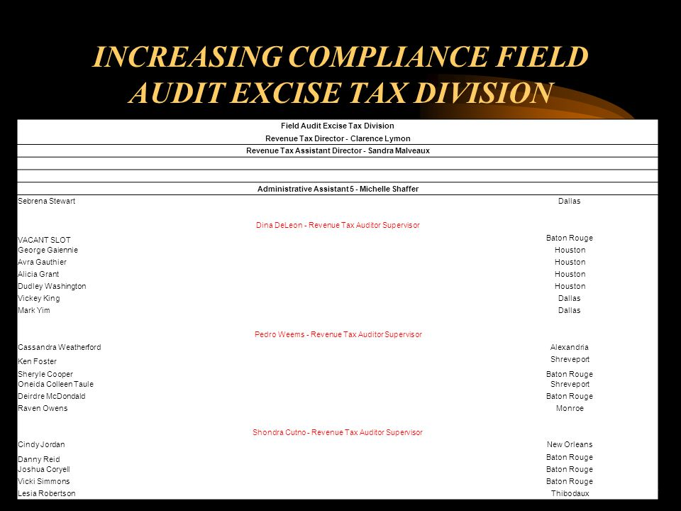 INCREASING COMPLIANCE FIELD AUDIT EXCISE TAX DIVISION