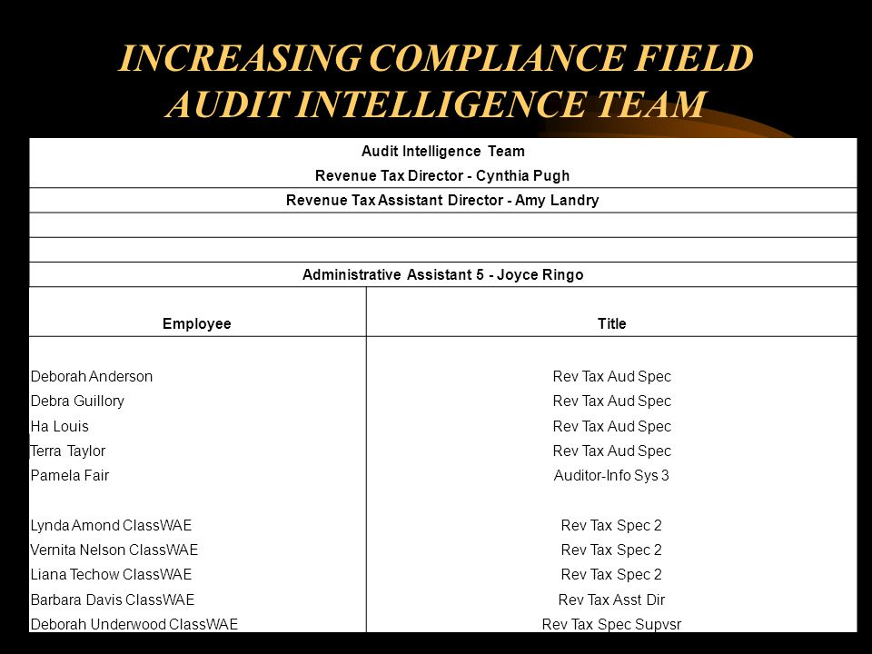 INCREASING COMPLIANCE FIELD AUDIT INTELLIGENCE TEAM