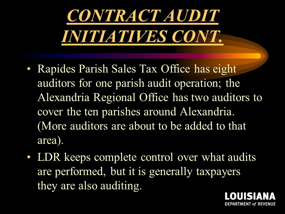 CONTRACT AUDIT INITIATIVES CONT.