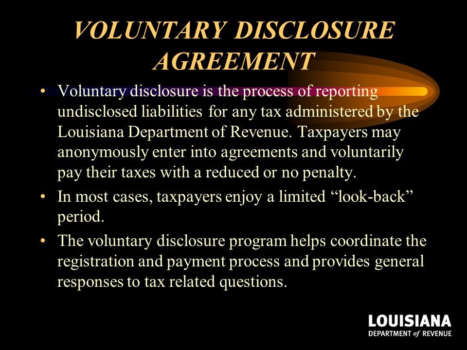 VOLUNTARY DISCLOSURE AGREEMENT