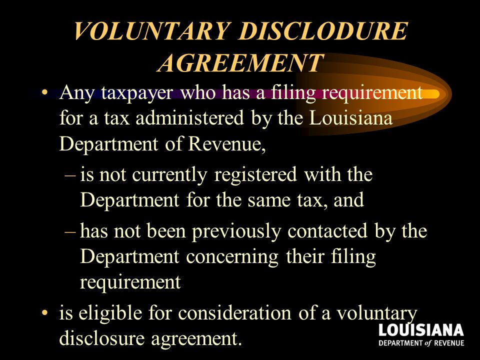 VOLUNTARY DISCLODURE AGREEMENT