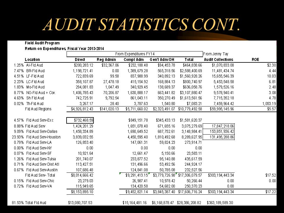 AUDIT STATISTICS CONT.