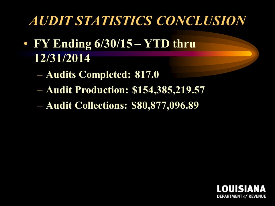 AUDIT STATISTICS CONCLUSION
