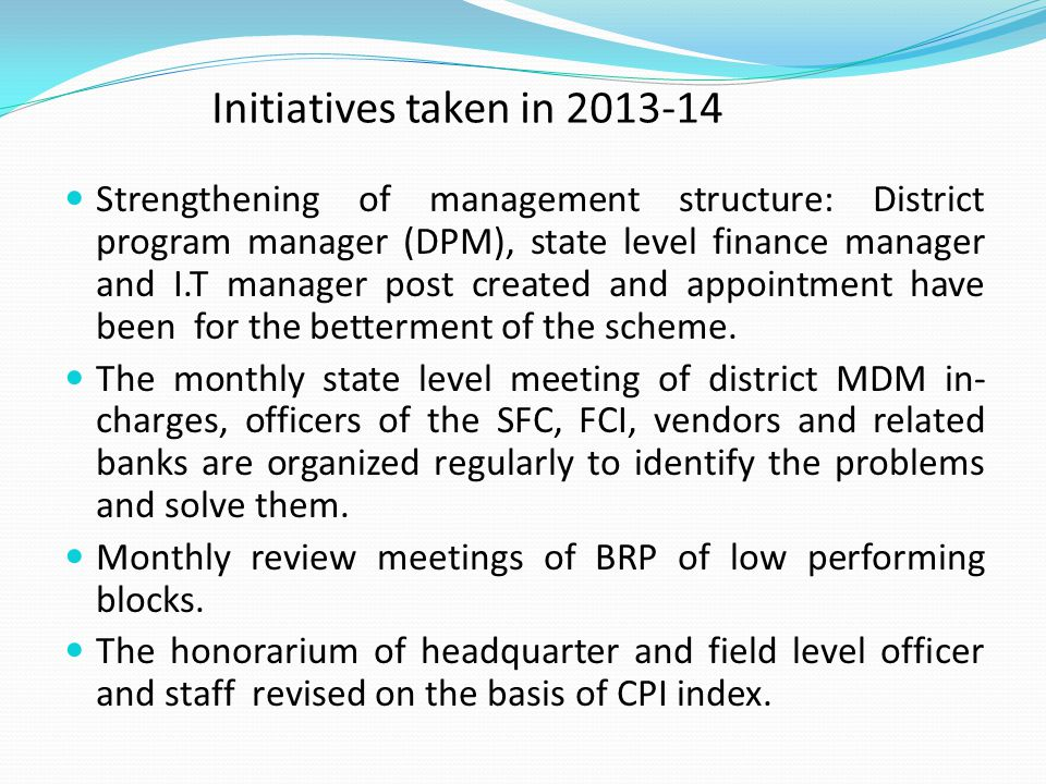 Initiatives taken in 2013-14