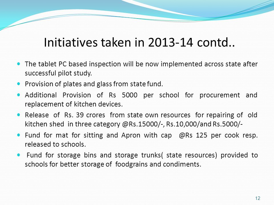 Initiatives taken in 2013-14 contd..