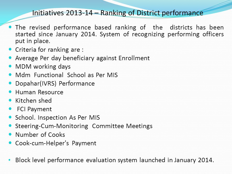 Initiatives 2013-14 – Ranking of District performance