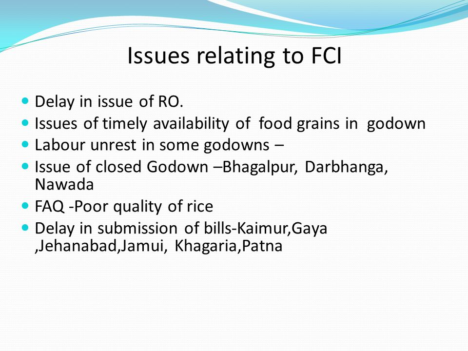 Issues relating to FCI Delay in issue of RO.