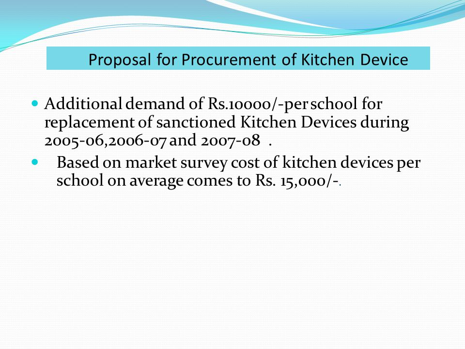 Proposal for Procurement of Kitchen Device