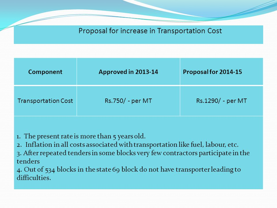 Proposal for increase in Transportation Cost