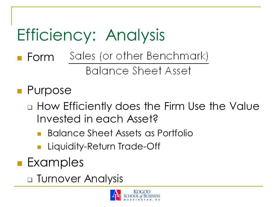 Efficiency: Analysis Examples Form Purpose