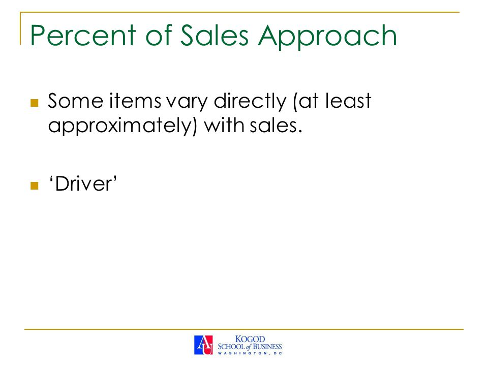 Percent of Sales Approach