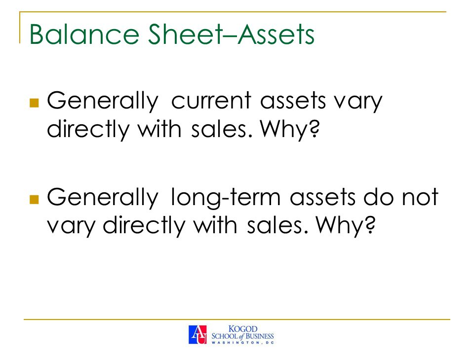 Balance Sheet–Assets Generally current assets vary directly with sales.