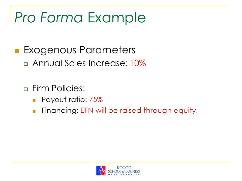 Pro Forma Example Exogenous Parameters Annual Sales Increase: 10%