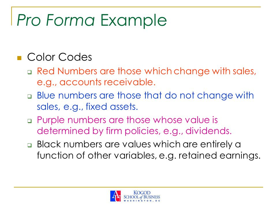 Pro Forma Example Color Codes