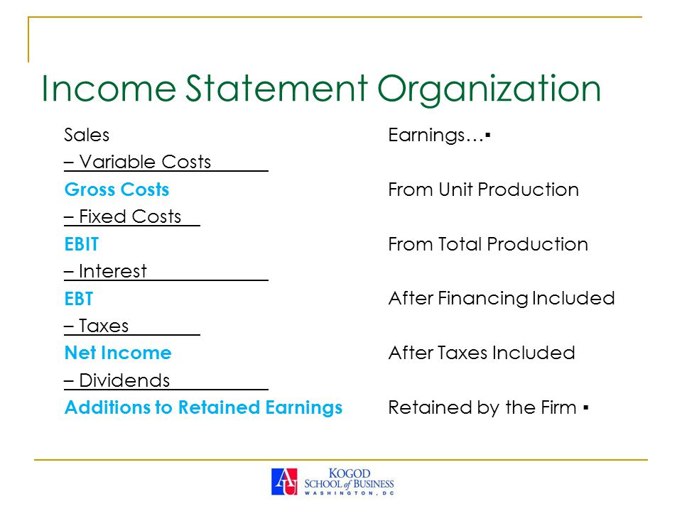 Income Statement Organization