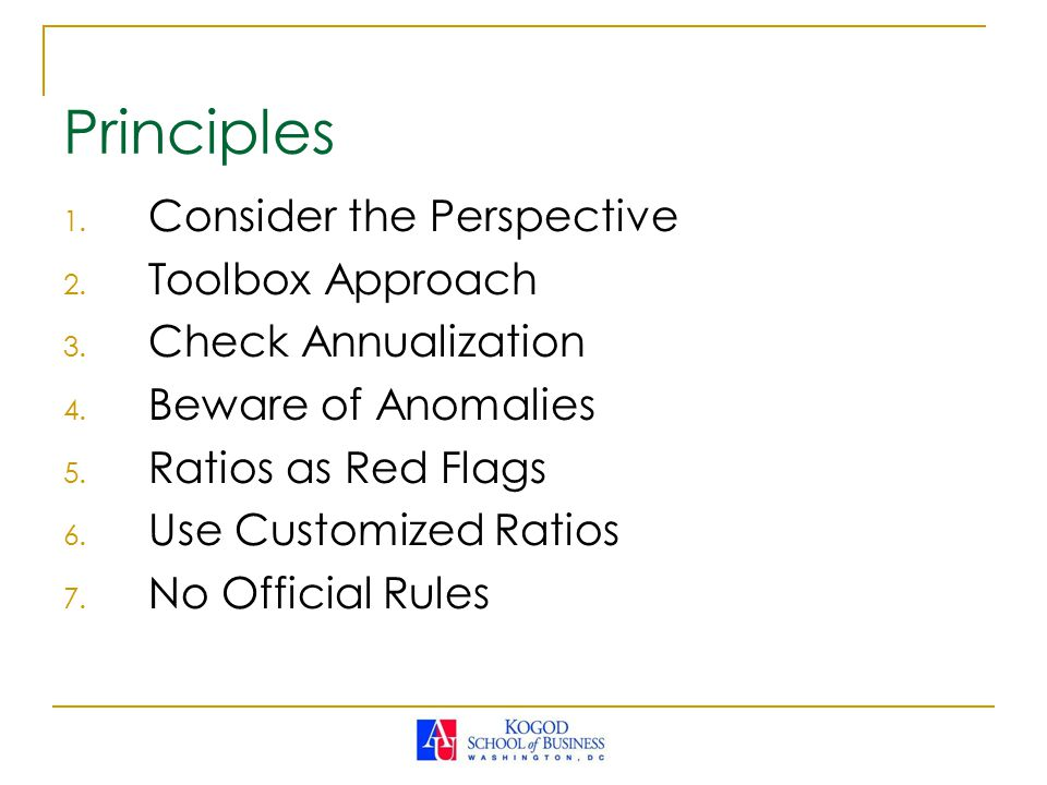 Principles Consider the Perspective Toolbox Approach