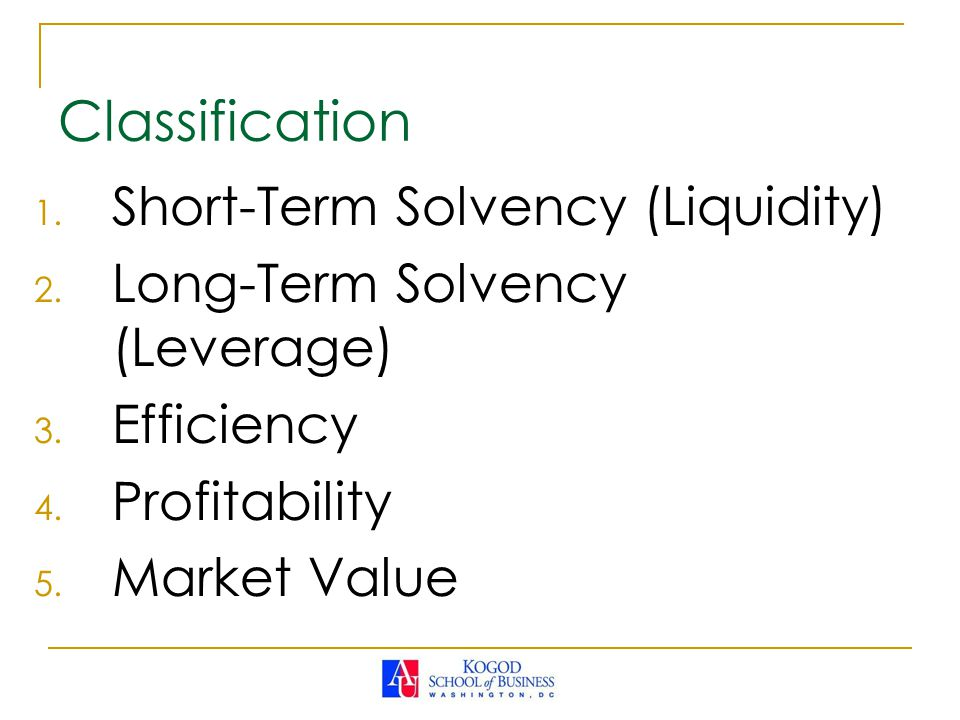 Classification Short-Term Solvency (Liquidity)