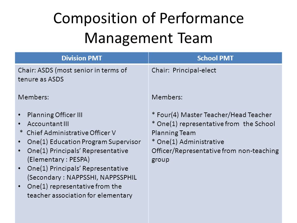 Composition of Performance Management Team