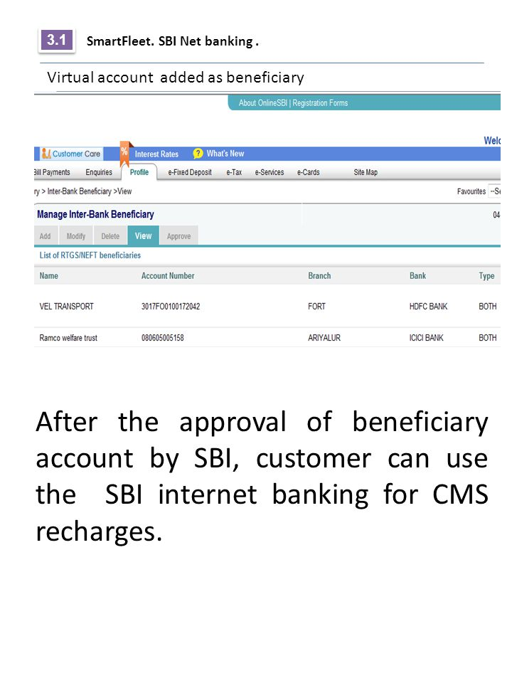 3.1 SmartFleet. SBI Net banking . Virtual account added as beneficiary.