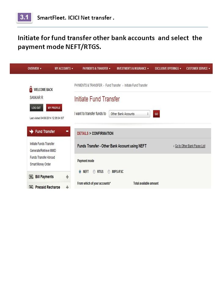 3.1 SmartFleet. ICICI Net transfer .