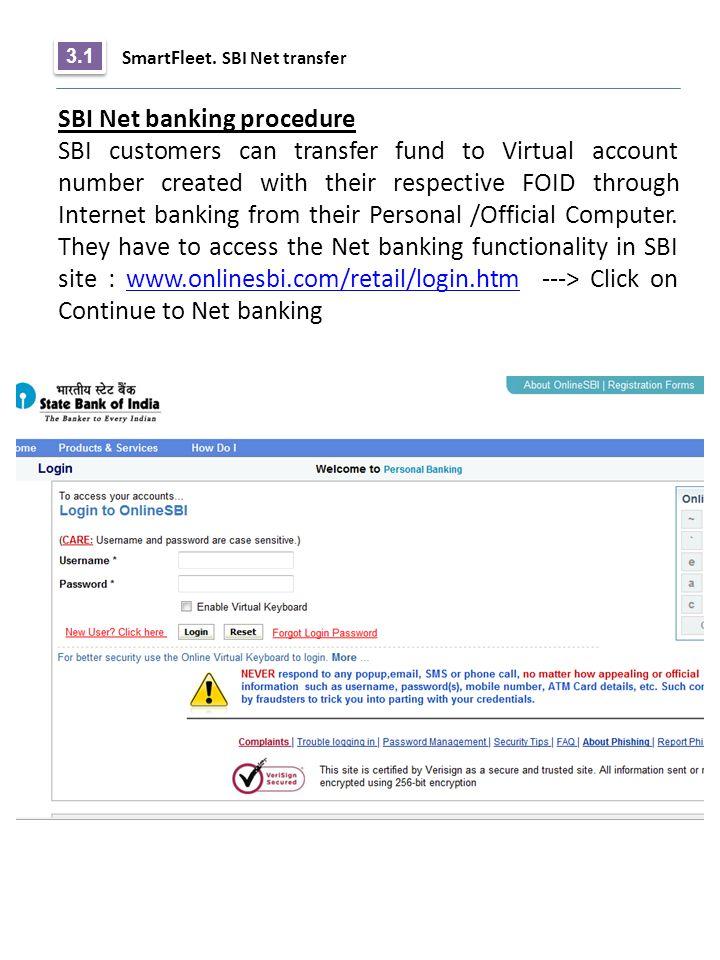 SBI Net banking procedure