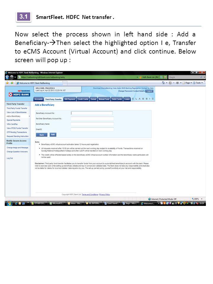 3.1 SmartFleet. HDFC Net transfer .