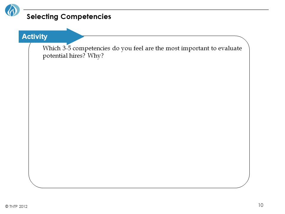 Selecting Competencies