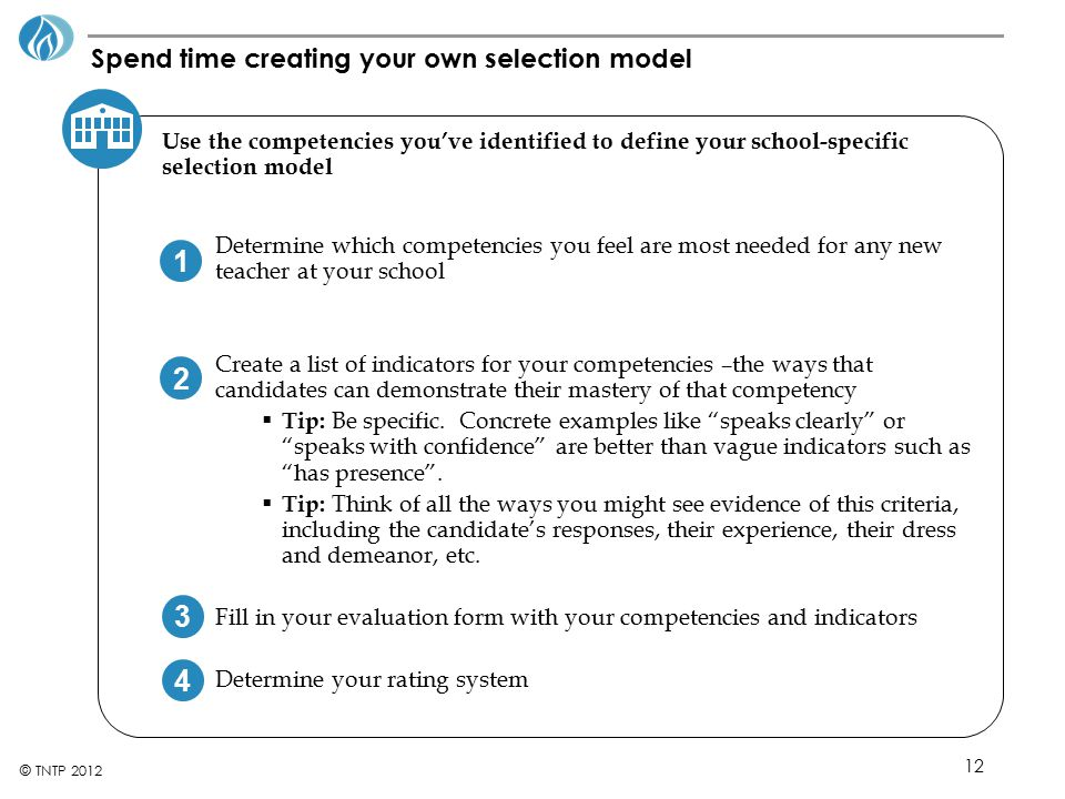Spend time creating your own selection model